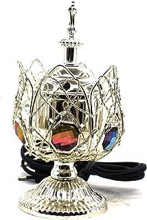 Electric Bakhoor Burner Electric Incense Burner Camphor- Oud Resin Frankincense Camphor Positive Energy Gift - WL38M - Silver