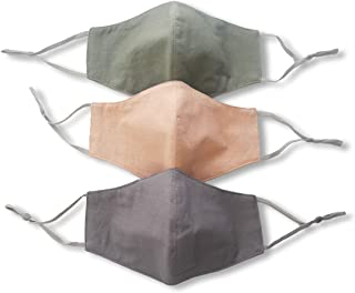 Grey Green Peach Face Masks with nose wire filter pocket adjustable ear loops HANDMADE in USA PACK OF 3 washable reusable Handmade women men unisex