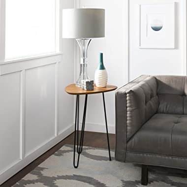 WE Furniture Mid Century Modern Round Hairpin Side End Accent Table Living Room, 18 Inch, Walnut