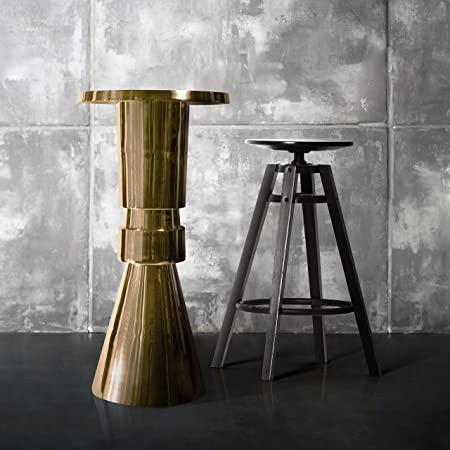 Decorative Aluminum Pedestal Accent Table (DH8036) | Metal Accent Round Table | Coffee elm Table | Ridge Side End Table for Home and Office Decor. (20 x 40.5, Gold)