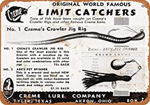 SALWON Creme Fishing Lures -Cartel De Chapa Advertencia Placa Metal Retro Pintura Hierro Art Cartel Personalizado para Sala Habitación Oficina Bar Café