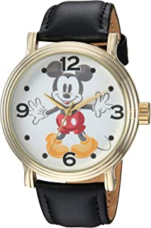 DISNEY Men's Mickey Mouse Analog-Quartz Watch with Leather-Synthetic Strap, Black, 22 (Model: WDS000337)