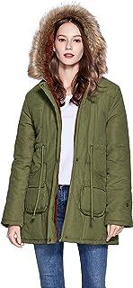 معطف فريبرانس للشتاء للنساء جاكيت بقبعة مع بطانة من الفرو الصناعي قلنسوة بلون أخضر عسكري