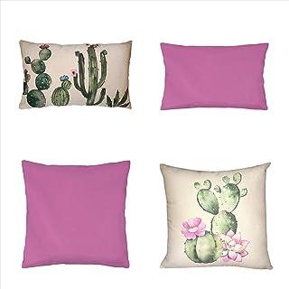 Koen Home Pack 4 Fundas de Cojines compuestos de algodón Decorativos y Modernos para salón, Dormitorio, sofá - 2 uds 45x45 y 2 uds 30x50 cm - Estampado Cactus - Sin Relleno Incluido - Tono Fucsia