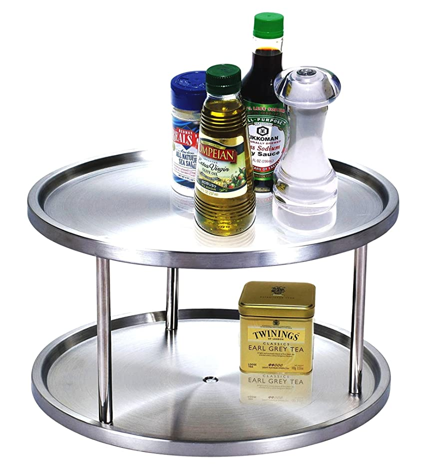 Cook N Home 10.5-Inch 2 Tier Lazy Susan Turntable Organizer, Stainless Steel (Renewed)