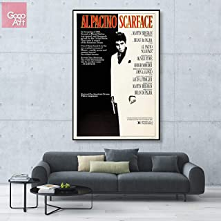 GoGoArt ROLL Canvas Print Wall Art Photo Big Picture Poster (no Framed no Stretched not Oil Painting) classic Movie Universal Scarface 1983 Al Pacino Tony Montana black white A-0251-1.5 (40 x 60 inch)