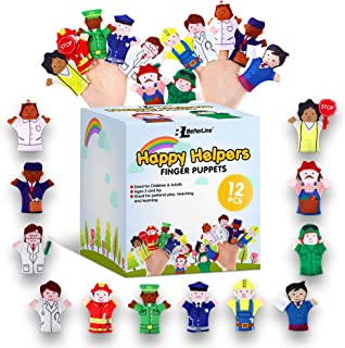 Limited Edition Happy Helpers Finger Puppets 12-Piece Set - Teach and Learn with a Variety of Neighborhood People Characters - Free Bonus E-Book - For Families, Children, Kindergarten, Play and ESL