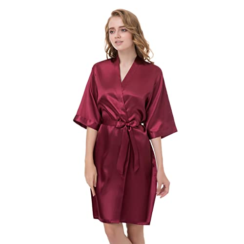 39d0d5ba01 gusuqing Women s Pure Color Short Kimono Robe Sleeve Bridesmaid Robe