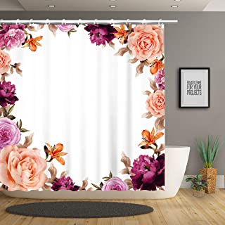 Stacy Fay Floral Shower Curtain Vintage Exotic Warm Flowers Botanical Natural Colorful Art Fabric Bathroom Decor Set with 12 Hooks, 70.8 Inches, Colorful
