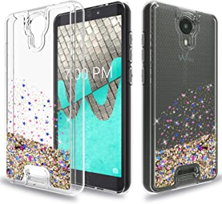 Wtiaw for:Wiko Ride Case,Wiko Ride Phone Case (Boost Mobile),Wiko Ride Glitter Case,[Quicksand Series] Flowing Liquid Floating Ultra Thin Shock Absorption Clear TPU Case for Wiko Ride-SA Gold