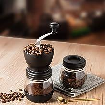 Manual Coffee Grinder, Adjustable Ceramic Burr Grinders with Stainless Steel Adjustment Nut and Glass Jar