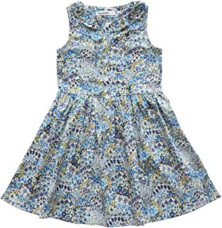 SOLOCOTE Girls Dress Floral Cotton Casual with Ruffle Kids Summer Dresses Youth Sleeveless Sundress Size 3-12Y