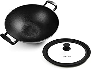 Uno Casa Cast Iron Wok Pan - Flat Bottom Wok with Silicone Lid - 12.5 Inch, 5.2 Q