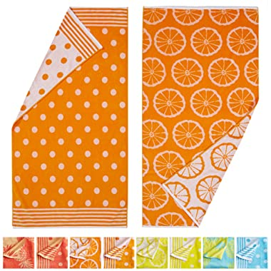 Great Bay Home 100% Cotton Jacquard 2-Pack Beach Towel. Soft Absorbent Quick Dry Towel Set. Fruit Jacquard Collection. (2 Pack, Orange/Dot)