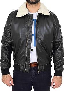 Mens Leather Bomber Jacket Aviator Pilot Style Ricky Black Rub Off