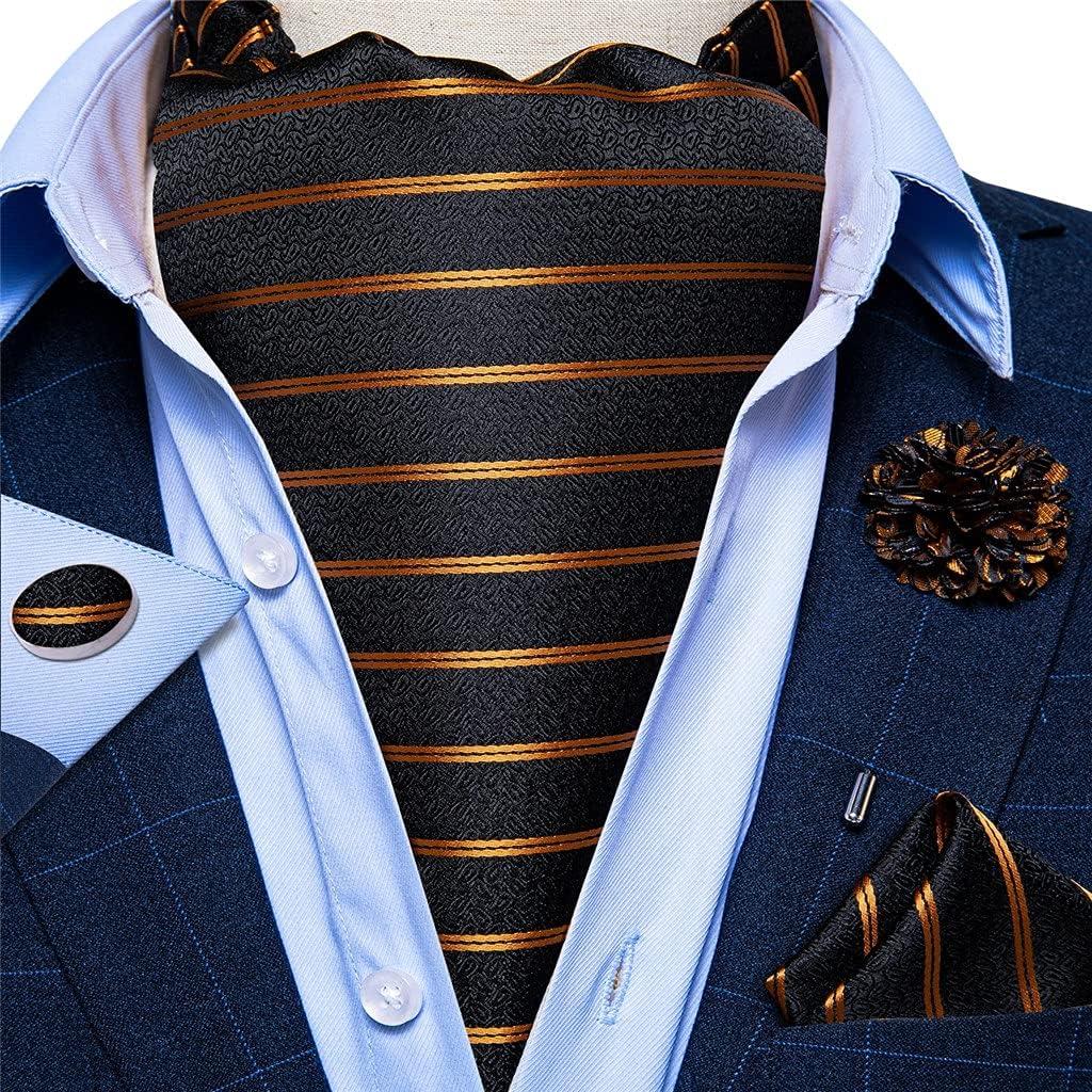 NJBYX Mens Vintage Gold Striped Black Jacquard Woven Silk Tie Self Cravat Scrunch British Style Gentleman Necktie (Color : Black Jacquard, Size : One size)