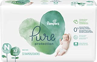 Diapers Newborn/Size N (>10 lb), 32 Count - Pampers Pure Disposable Baby Diapers, Hypoallergenic and Unscented Protection