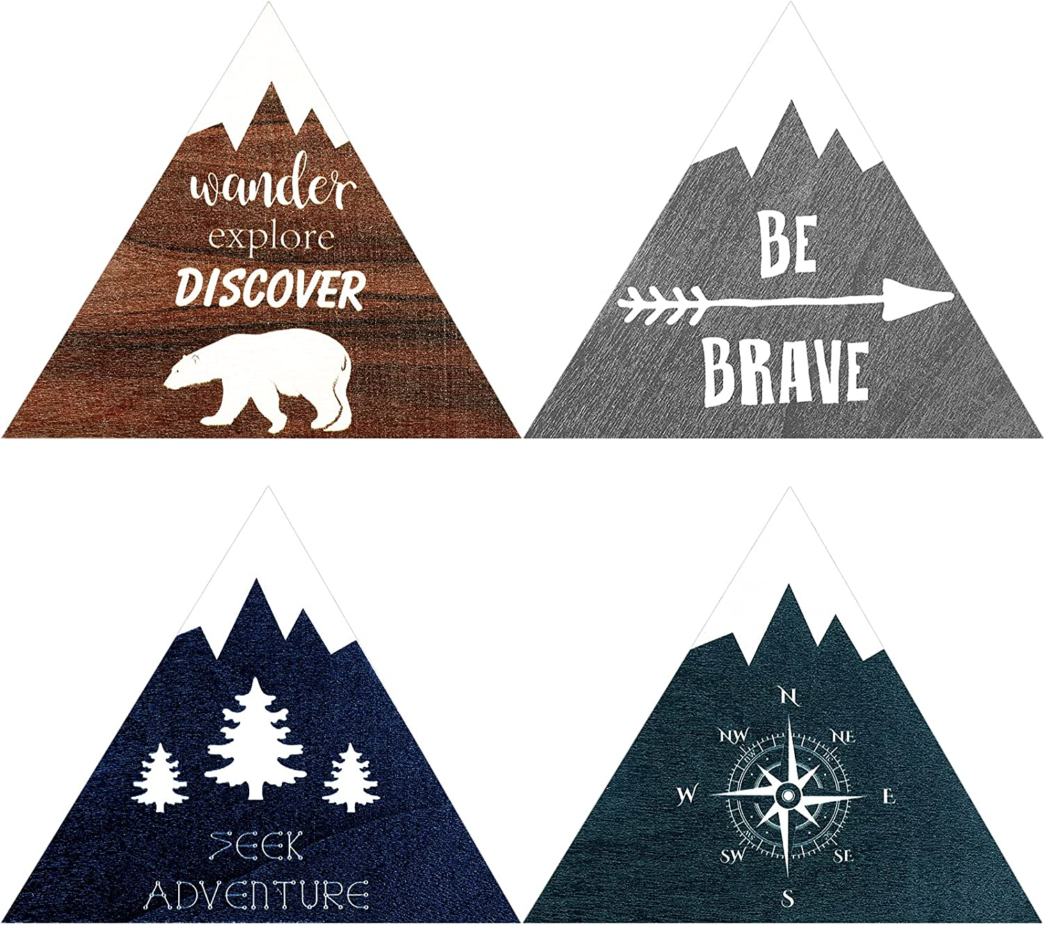 Blulu 4 Pieces Inspirational Wooden Nursery Decor Mountain Decor Wall Sign Rustic Nature Forest Woodland Adventure Motivational Wooden Hanging Decor with Hook for Baby Bedroom Nursery Decor