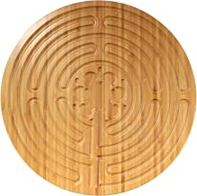 """BambooMN 12.5"""" Dia Carbonized Brown Bamboo Finger Labyrinth for Meditation and Prayer, 7 Circuit Chartres Style, 1 Piece"""