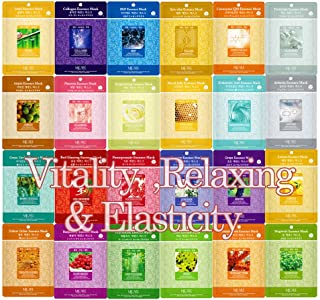Pack of 24, The Elixir Beauty Concentrated Collagen Essence Facial Mask Pack Sheet for Vitality, Calming, and Elasticity