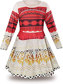 Princess Moana Long Sleeve Costume Party Dress Up for Girls