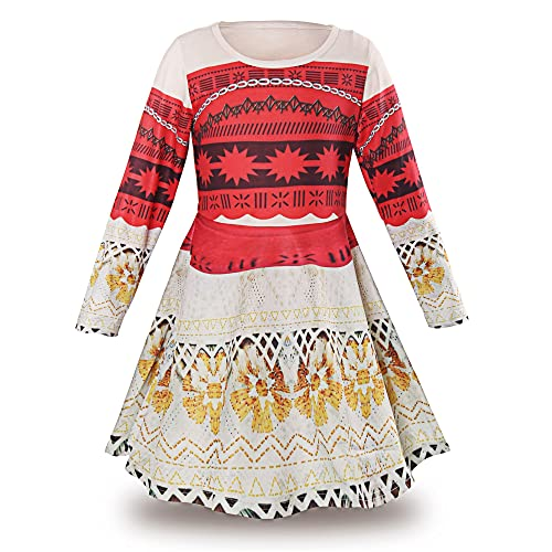 JerrisApparel Princess Moana Long Sleeve Costume Party Dress Up for Girls