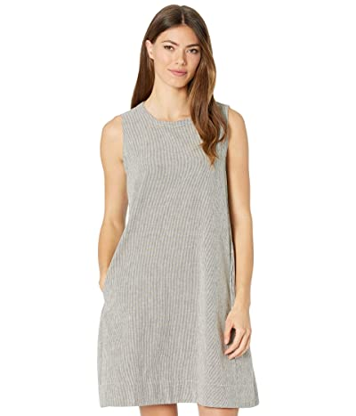 Eileen Fisher Organic Cotton Linen Ticking Stripe Round Neck Dress (Black/Soft White) Women