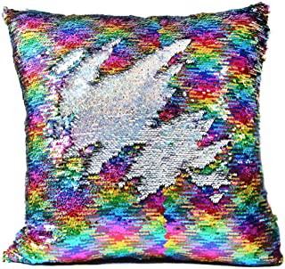Ainik Mermaid Pillow Case Mermaid Pillow Cover Sequin Throw Pillow Case Decorative Color Change Cushion Cover Sofa Bedroom Car Kids 16 x 16 inches (Rainbow/Silver)