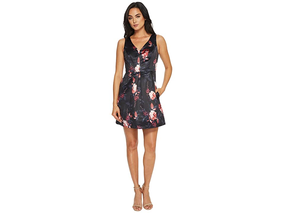 CeCe Rose Sleeveless V-Neck Pleated Floral Dress (Rich Black) Women