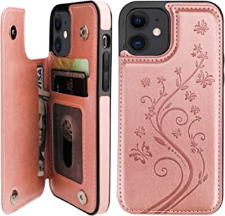 Vaburs Compatible with iPhone 12 and iPhone 12 Pro Case Wallet with Card Holder,Embossed Butterfly Pattern PU Leather Doub...