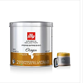 illy Coffee, iperEspresso Capsule,Arabica Selections Ethiopia Single Origin Espresso Pods, 100% Arabica Bean Premium Gourmet Light Roast, Citrus & Floral Notes; For illy iperEspresso Machines (21 ct)