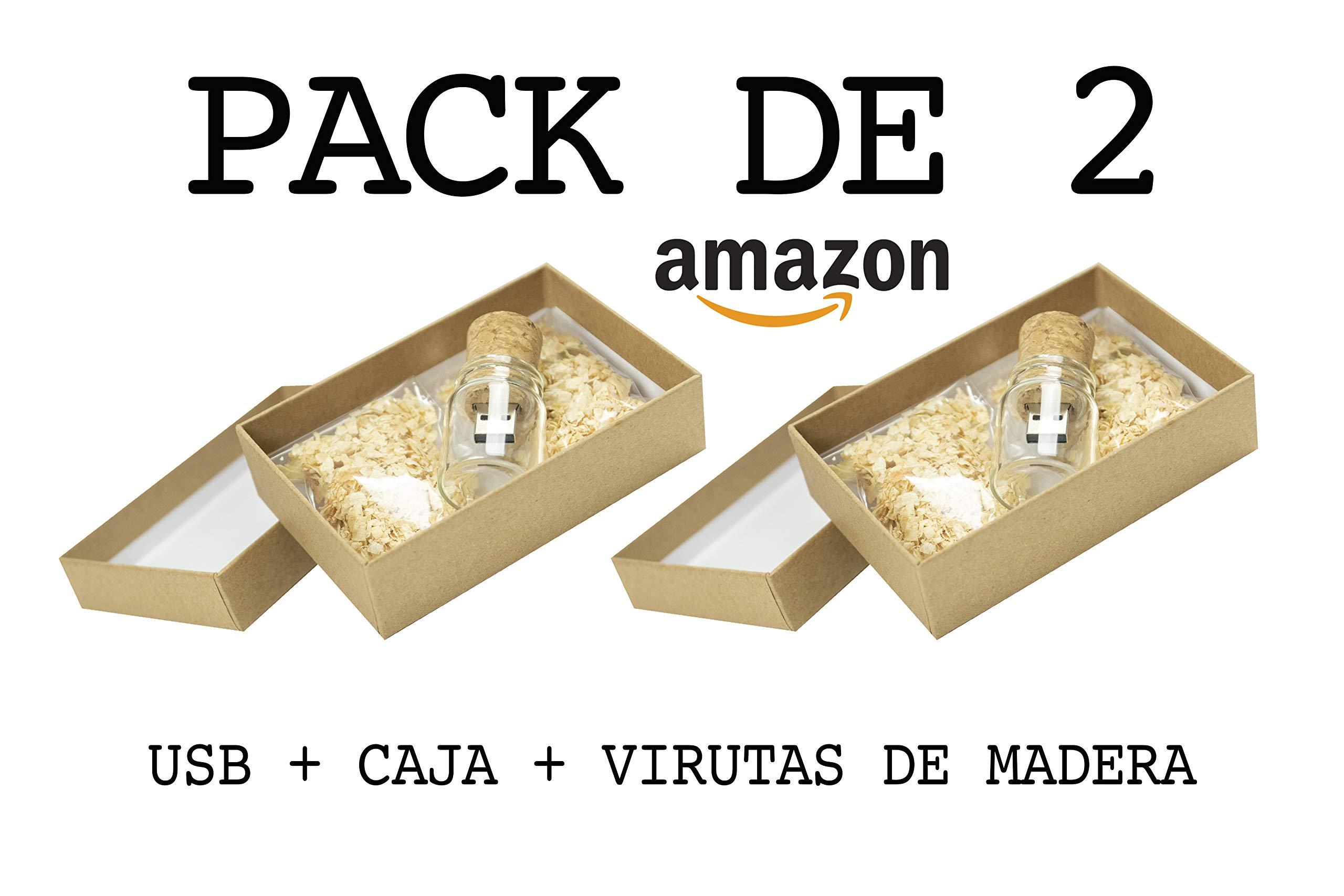 Luglez Pack de 2 USB (16 GB) para Fotógrafos Botella de Cristal con Corcho + Caja