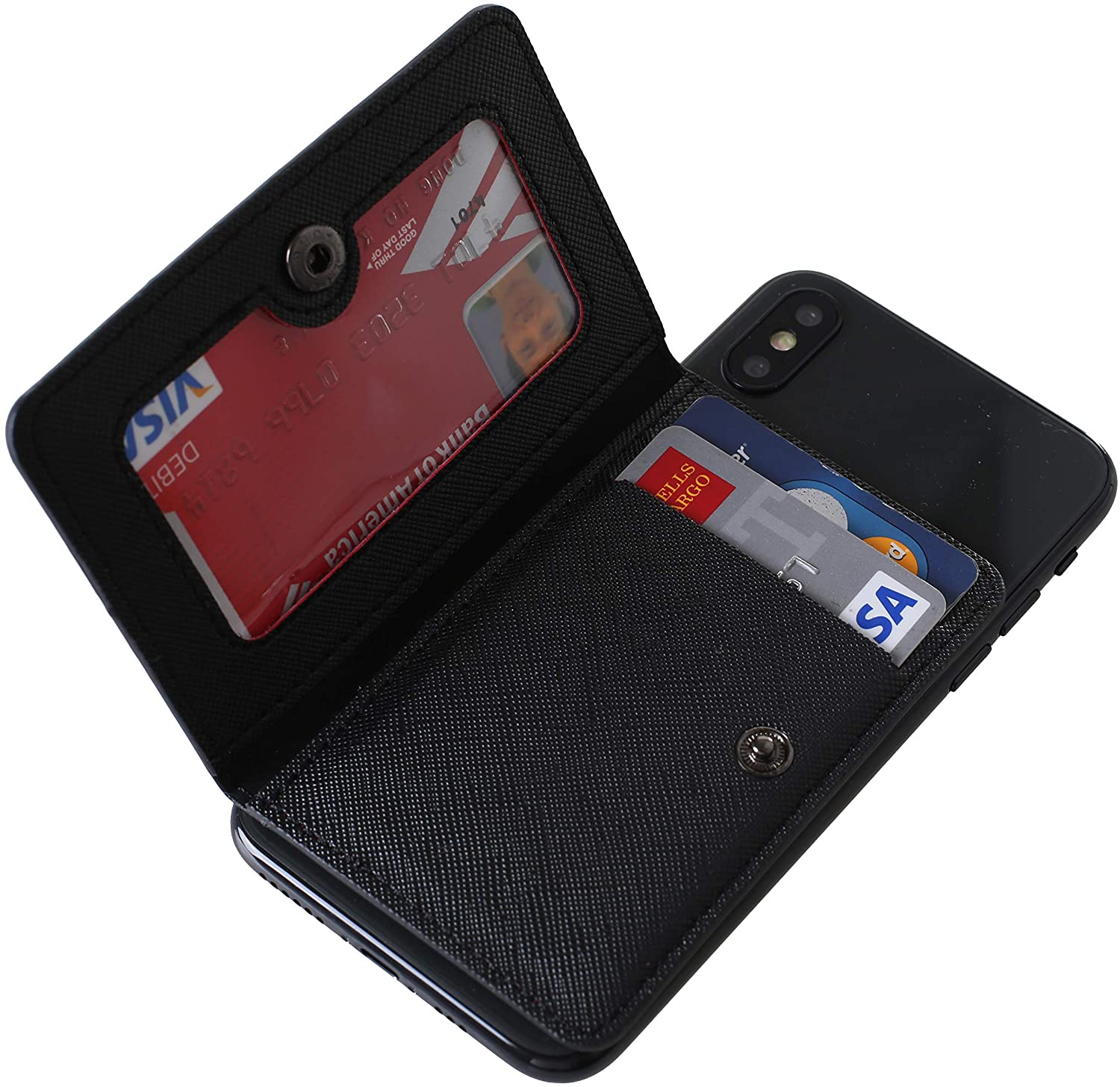 CheapSunday ID Card Holder for Back of Phone Leather Phone Wallet Stick On with Stand Flip Waterproof Leather Adhesive Wallet for Most Cellphones (Black)