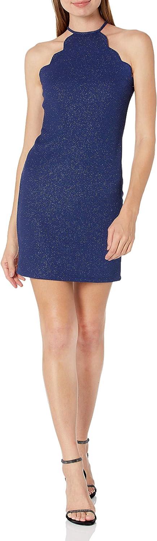 JUMP Women's Scalloped Short Glitter Dress