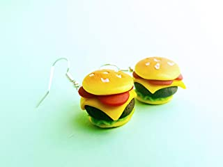 Funny cheeseburger dangle earrings