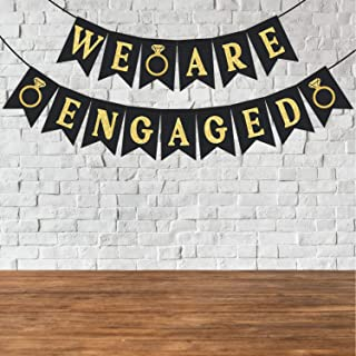 "Wobbox Black & Golden Glitter ""We are Engaged"" Engagement Bunting Banner,Enagement Decoration Item"