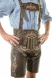 Men's Oktoberfest Lederhosen BERLIN Dark Brown - Oktoberfest Lamb Leather Trousers