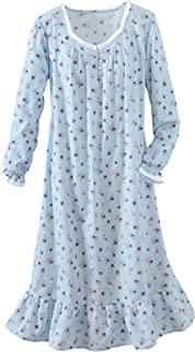 Image of Blue Floral Flannel Nightgown for Women - Also Available in Pink