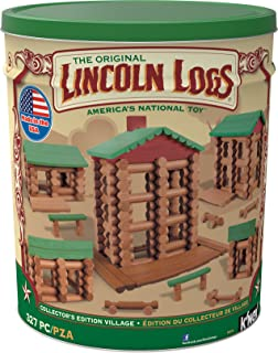 LINCOLN LOGS-Collector`s Edition Village-327 Pieces-Real Wood Logs-Ages 3+ - Best Retro Building Gift Set for Boys/Girls-Creative Construction Engineering–Top Blocks Game Kit - Preschool Education Toy