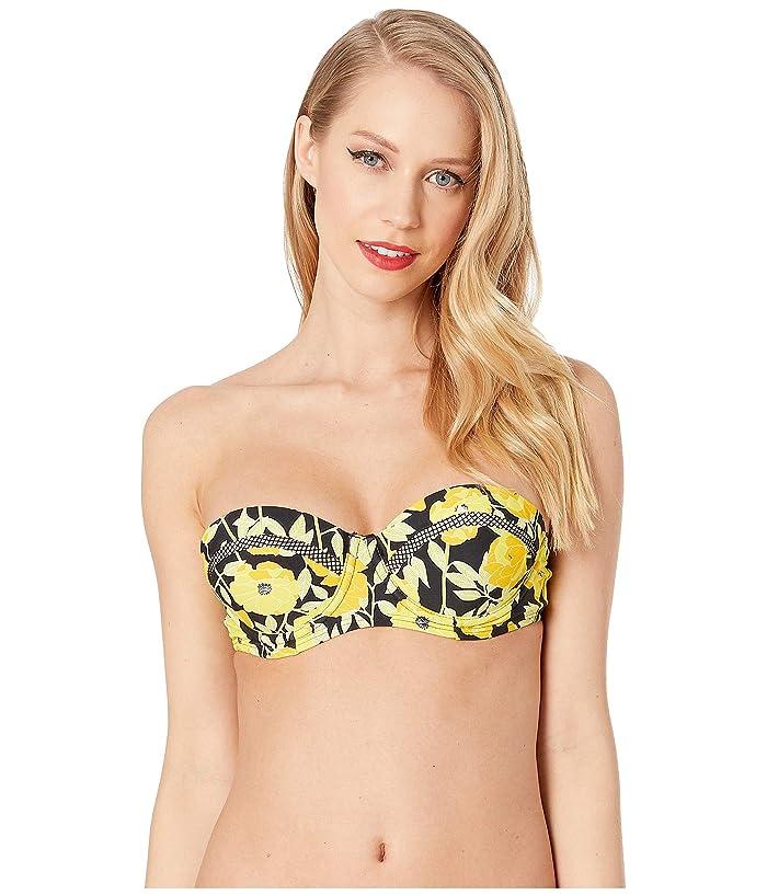 Unique Vintage Marianne Bandeau Swim Top (Yellow Poppy Print) Women