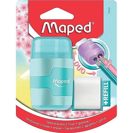 Maped Taille-Crayon Connect 2 Trous avec Gomme sans PVC + 1 Recharge Gomme Medium - Coloris Pastel Aléatoire Bleu, Violet ou Rose, 49230