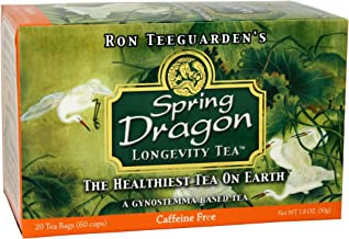 Dragon Herbs Spring Dragon Longevity Tea - 40 Organic Tea Bags - 120 Cups - Made with Organic Grown Gynostemma - All Natural, Non-GMO, Caffine Free, Premium Grade, Jiao Gu LAN (2 Pack)