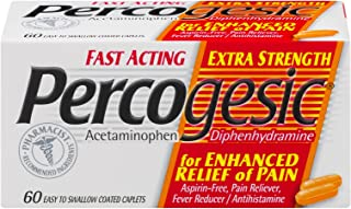 Percogesic Extra Strength, Acetaminophen and Diphenhydramine, 60 Tablets