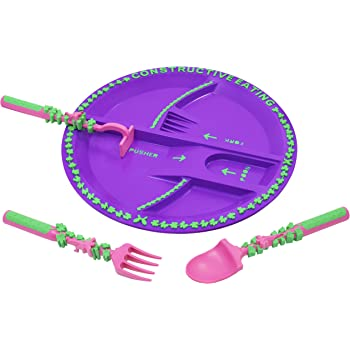 Constructive Eating Garden Fairy Combo with Set of 3 Utensils and Plate for Toddlers, Infants, Babies and Kids - Flatware is Made in The USA Using Materials Tested for Safety