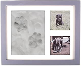 DII Z02161 Keepsake Frame for Dog, Cat or Other Pet Photos and Paw Wall or Desk-Holds Two 3x3 Images & Clay Included for Imprints, Gray
