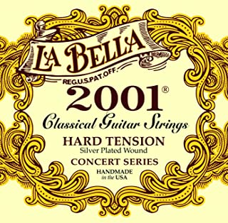 La Bella 2001 Concert Series, Classical Guitar Strings, Silver Plated Wound Basses, Hard Tension