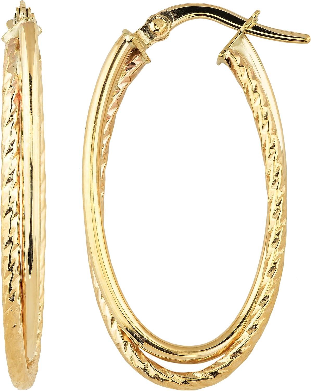 Kooljewelry 14k Yellow Gold shop Overlapping Earring Double Max 49% OFF Hoop Oval