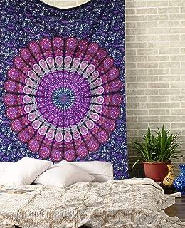 raajsee Purple Tapestry Mandala Wall Hangings, Indian Cotton Beach Throw Blanket, Hippie Tapestries Boho Décor Bohemian Bedding,Twin Bedspread 140x210 cms Yoga Meditation Mat Rugs, A