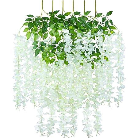 Fleurs de Wisteria artificielles Vigne Fausse Guirlande de glycine Fleurs suspendues pour Mariage Jardin Decorations de Fete a la Maison, Paquet de 6 Blanc