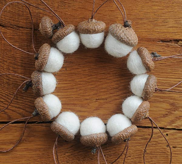 White Felted Acorns OR Acorn Ornaments
